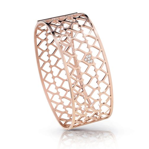 Guess Rose Gold Plated Rhodium Heart Pattern Bangle - Product number 4072790