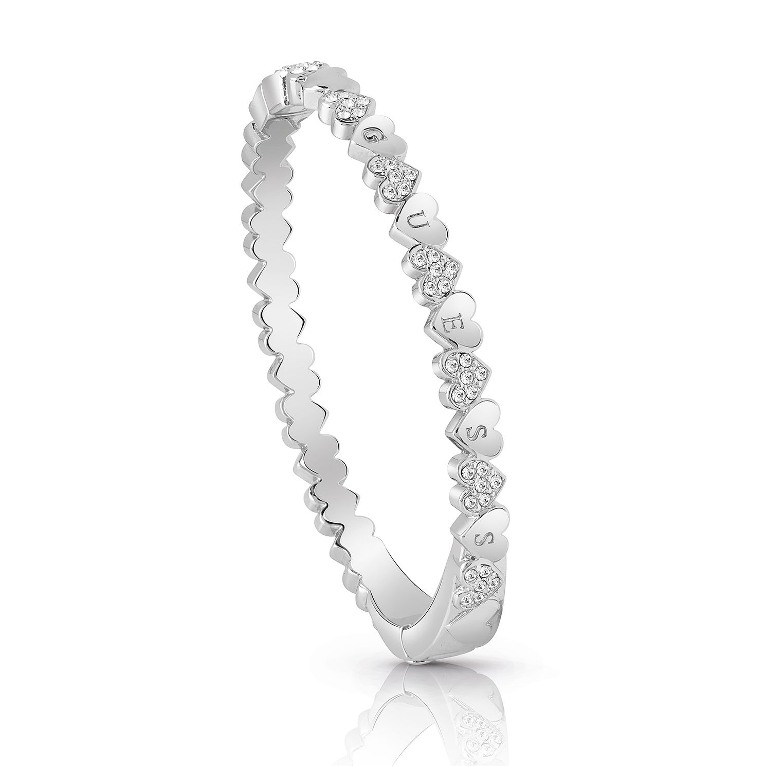 Guess Rhodium Plated Small Heart Crystal Bangle - Product number 4075358