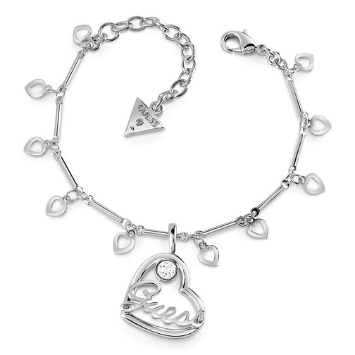 Guess Silver Plated Rhodium Logo Charm Bracelet - Product number 4075447