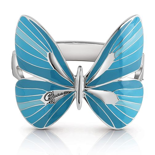 Guess Silver Plated Rhodium Blue Butterfly Bangle - Product number 4075471
