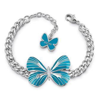 Guess Silver Plated Rhodium Blue Butterfly Bracelet - Product number 4075528
