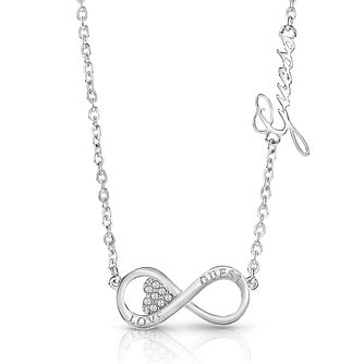 Guess Silver Plated Rhodium Infinity Necklace - Product number 4075811