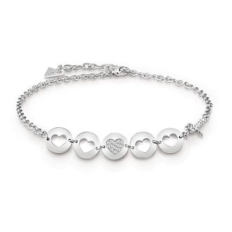 Guess Silver Plated Rhodium Coin Hearts Choker - Product number 4075862
