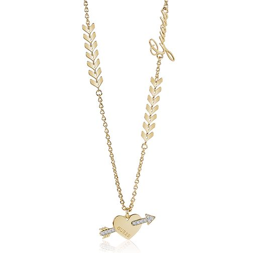 Guess Gold Plated Rhodium Heart & Arrow Necklace - Product number 4076206