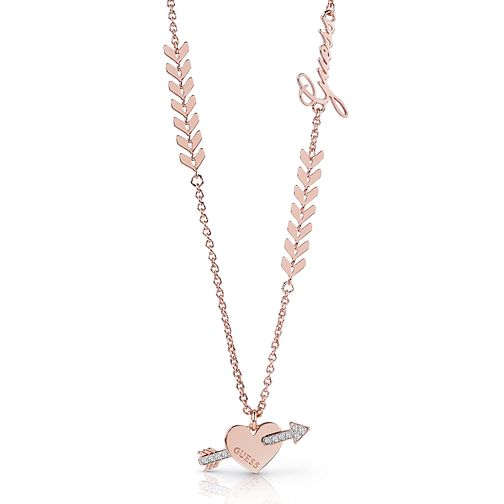 Guess Rose Gold Plated Rhodium Arrow Necklace - Product number 4076230
