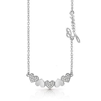 Guess Silver Plated Rhodium Hearts Necklace - Product number 4076273