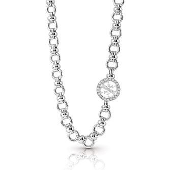 Guess Silver Plated Rhodium Pave Chain Necklace - Product number 4076346