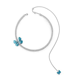 Guess Silver Plated Rhodium Blue Butterfly Necklace - Product number 4076435
