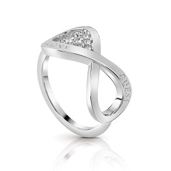 Guess Silver Plated Rhodium Infinity Heart Ring - Product number 4076443