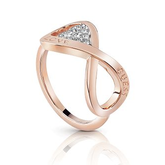Guess Rose Gold Plated Rhodium Infinity Heart Ring - Size N - Product number 4076451