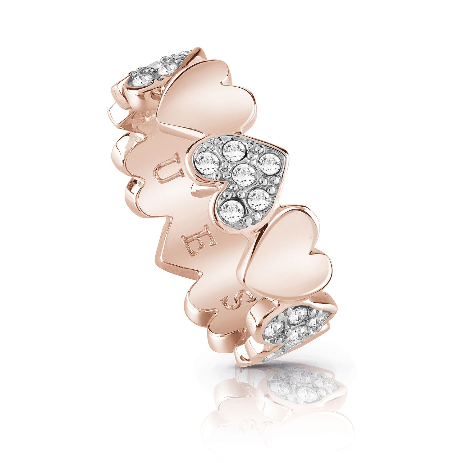 Guess Rose Gold Plated Rhodium Multi Pave Heart Ring - Product number 4076516