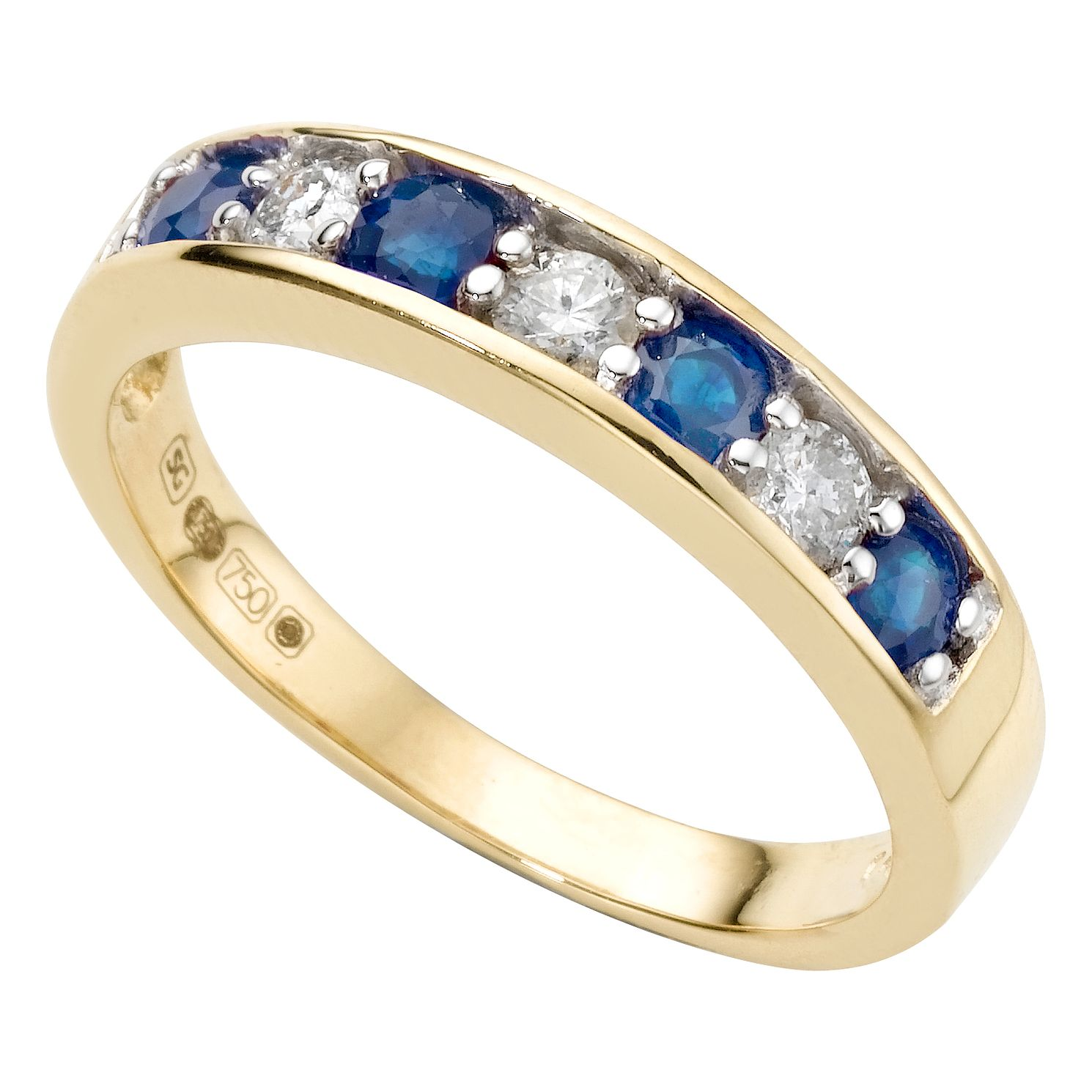 18ct Gold Sapphire & 0.20ct Diamond Half-Eternity Ring - Product number 4078012