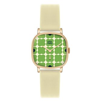 Orla Kiely Ladies' Green Dial Cream Leather Strap Watch - Product number 4078632