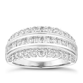 18ct White Gold 1ct Round and Baguette Diamond Band - Product number 4079663