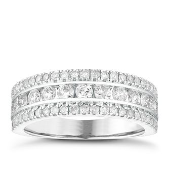 18ct White Gold 1ct Diamond Three Row Eternity Ring - Product number 4079930