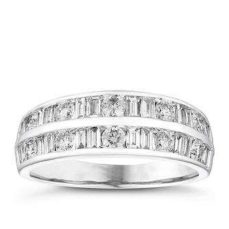 18ct White Gold 1ct Round and Baguette Diamond Band - Product number 4080076