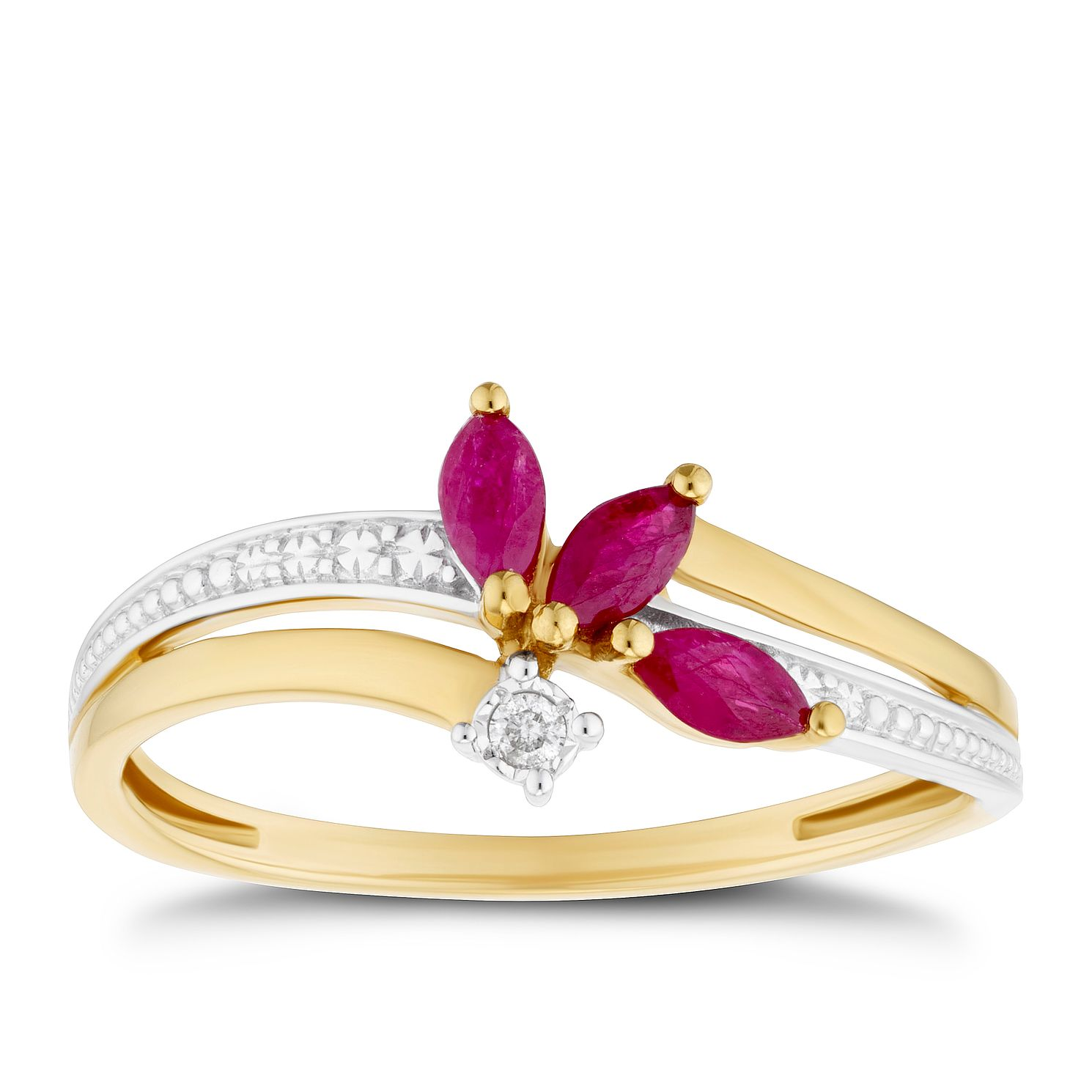 9ct Yellow Gold Ruby & Diamond Leaf Ring - Product number 4080262