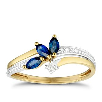 9ct Yellow Gold Leaf Black Sapphire & Diamond Ring - Product number 4081854