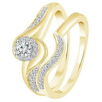 9ct Yellow Gold 1/3ct Diamond Perfect Fit Bridal Set - Product number 4082354