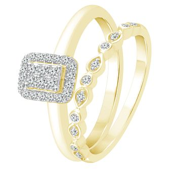 9ct Yellow Gold 0.17ct Diamond Perfect Fit Bridal Set - Product number 4082494