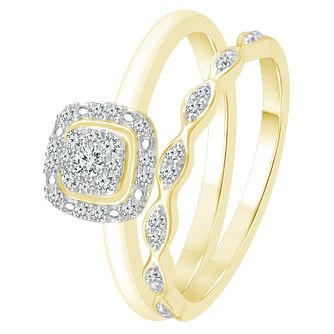Perfect Fit 9ct Yellow Gold 0.15ct Diamond Bridal Set - Product number 4082648