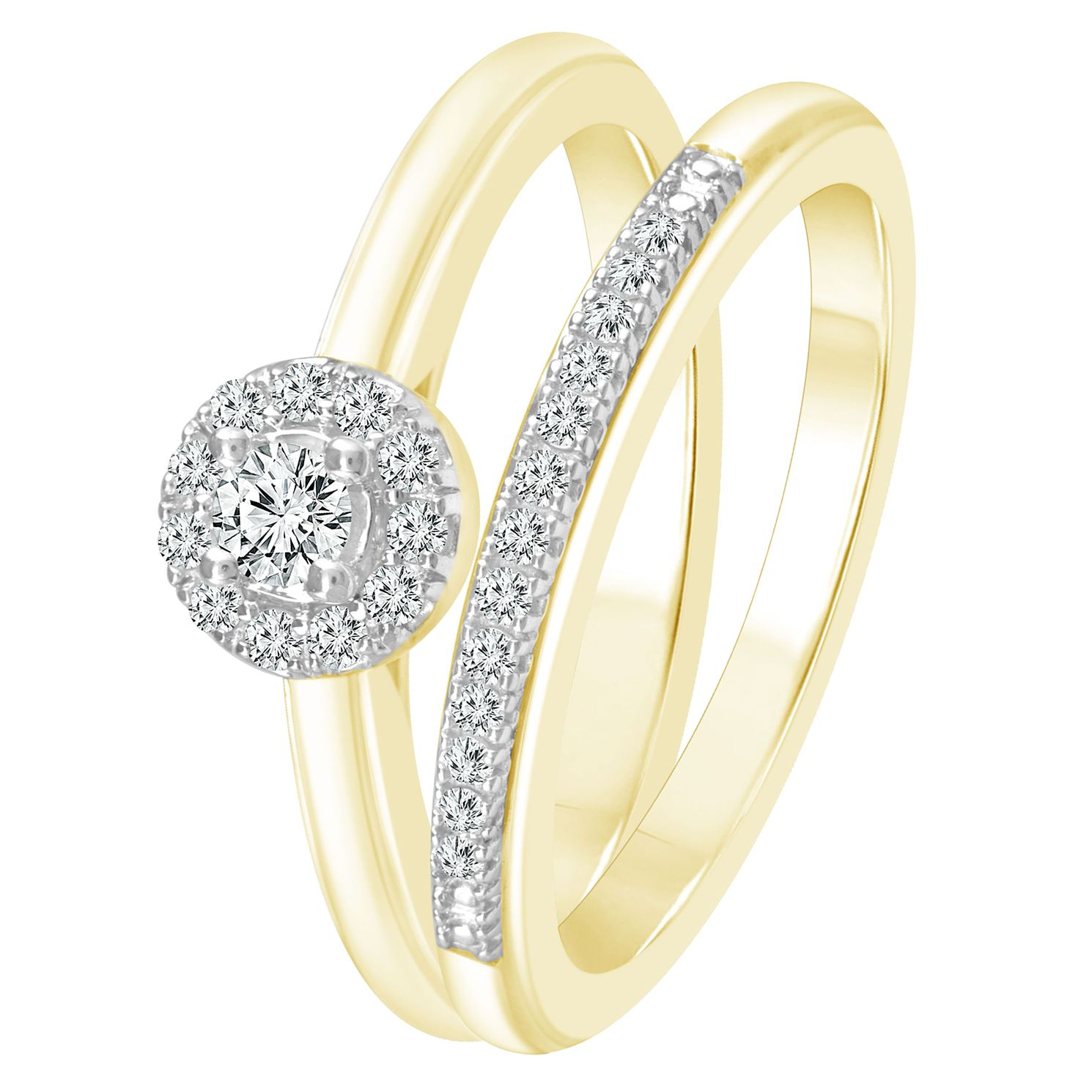 Perfect Fit 9ct Yellow Gold 1/5ct Round Diamond Bridal Set - Product number 4089243