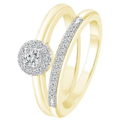 9ct Yellow Gold 1/5ct Diamond Perfect Fit Bridal Set - Product number 4089243