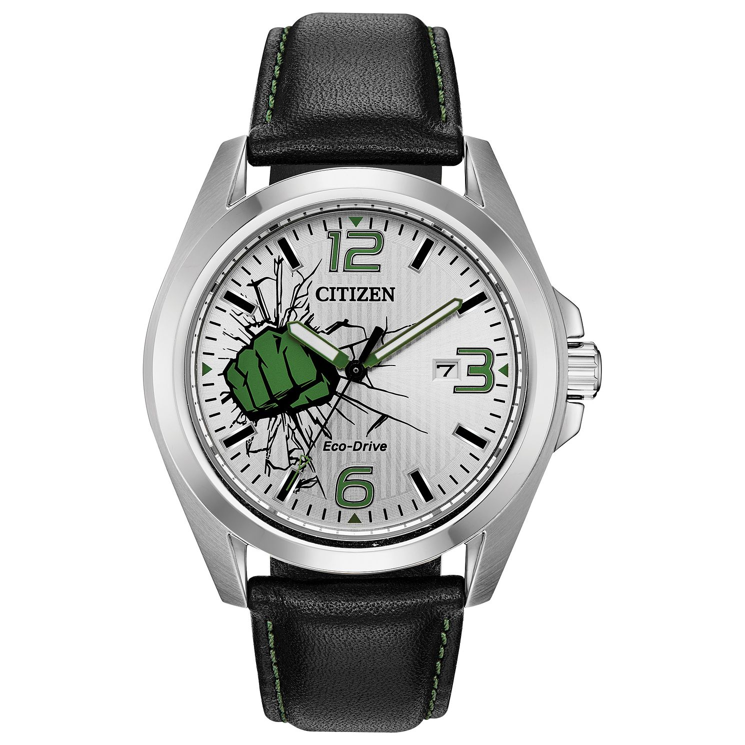Citizen Marvel Hulk Black Leather Strap Watch - Product number 4089499