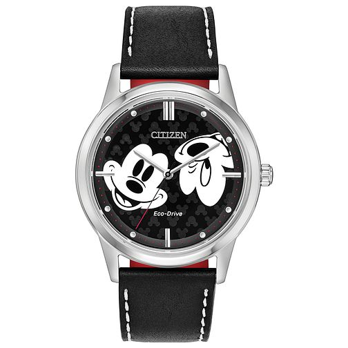 Citizen Disney Mickey Mouse Black Leather Strap Watch - Product number 4089553