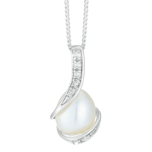 9ct White Gold Diamond Cultured Freshwater Pearl Pendant - Product number 4090446