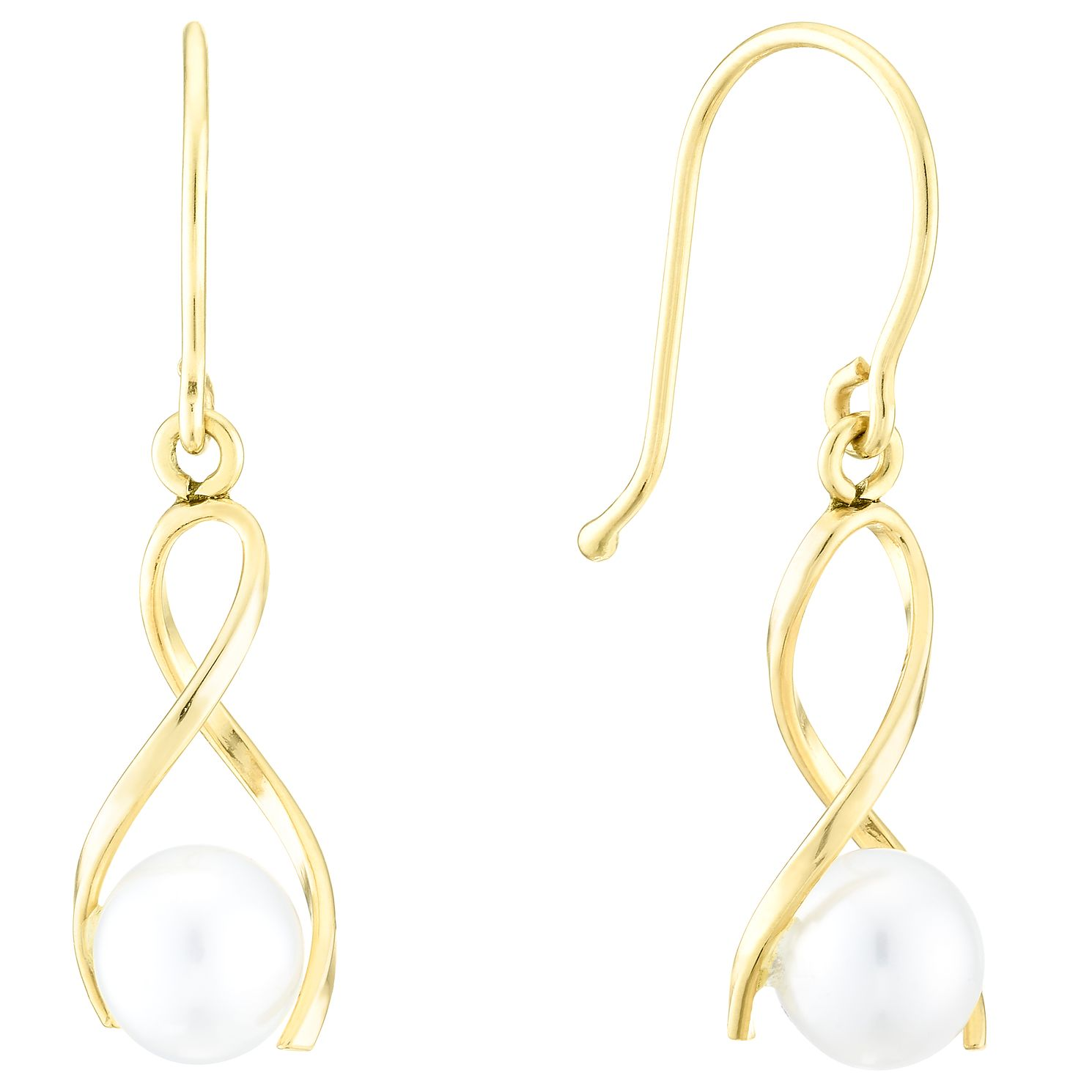 9ct Yellow Gold 5mm Cultured Freshwater Pearl Drop Earrings - Product number 4090799