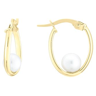 9ct Yellow Gold Oval Creole Pearl Earrings - Product number 4091809