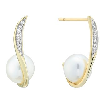 9ct Yellow Gold Diamond Cultured Freshwater Pearl Earrings - Product number 4092392