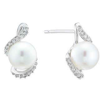 9ct White Gold 0.12ct Diamond Wrap Pearl Earrings - Product number 4092449