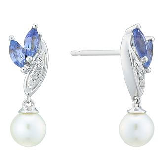 9ct White Gold Tanzanite Diamond Pearl Earrings - Product number 4092619