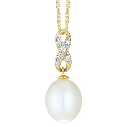 9ct Yellow Gold Cultured Freshwater Pearl Diamond Pendant - Product number 4092724