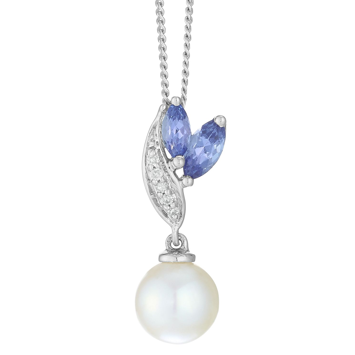 9ct White Gold Tanzanite Diamond Pearl Pendant - Product number 4092775