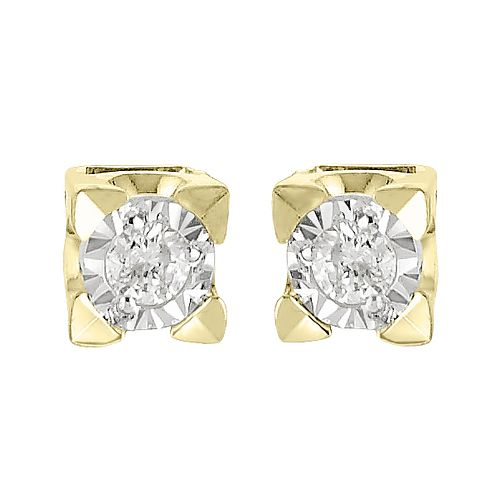 9ct Yellow Gold 1/10ct Diamond Illusion Square Stud Earrings - Product number 4093046