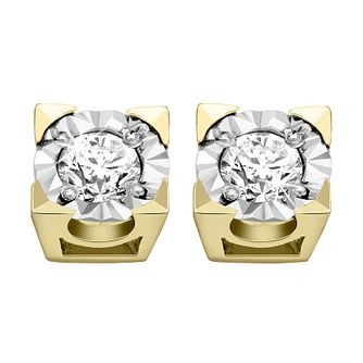 9ct Yellow Gold 1/4ct Diamond Illusion Square Stud Earrings - Product number 4093313