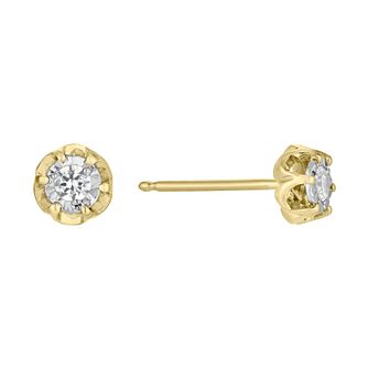 9ct Yellow Gold 1/10ct Diamond Illusion Flower Stud Earrings - Product number 4093321