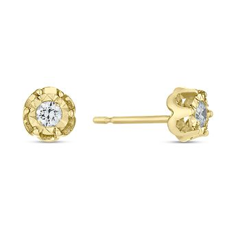 9ct Yellow Gold 0.17ct Diamond Illusion Flower Stud Earrings - Product number 4093348