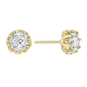 9ct Yellow Gold 1/4ct Diamond Illusion Flower Stud Earrings - Product number 4093356