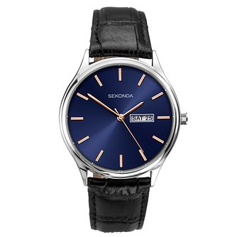 Sekonda Men's Black Leather Strap Watch - Product number 4093895