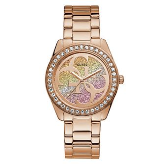 Guess Ladies' Glitter 4-G Dial Rose Gold Tone Bracelet Watch - Product number 4094158