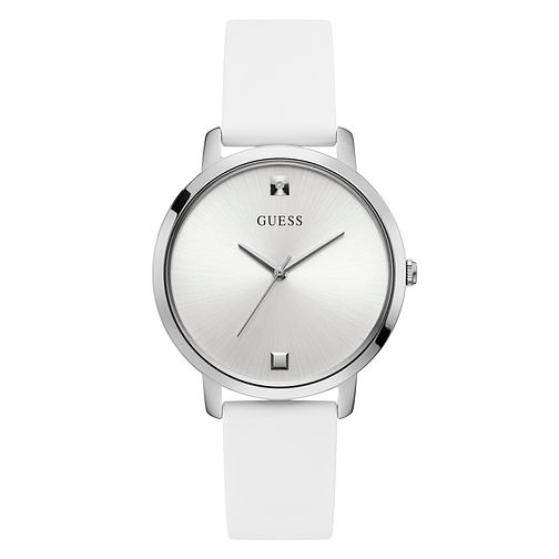 Guess Ladies' Diamond Set White Silicone Strap Watch - Product number 4094166