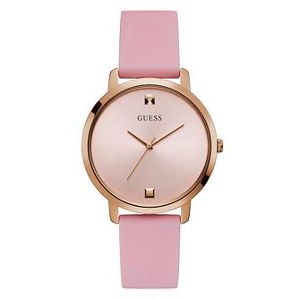 Guess Ladies' Diamond Set Dial Pink Silicone Strap Watch - Product number 4094174