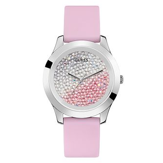 Guess Ladies' Crystal Fade Dial Pink Silicone Strap Watch - Product number 4094182