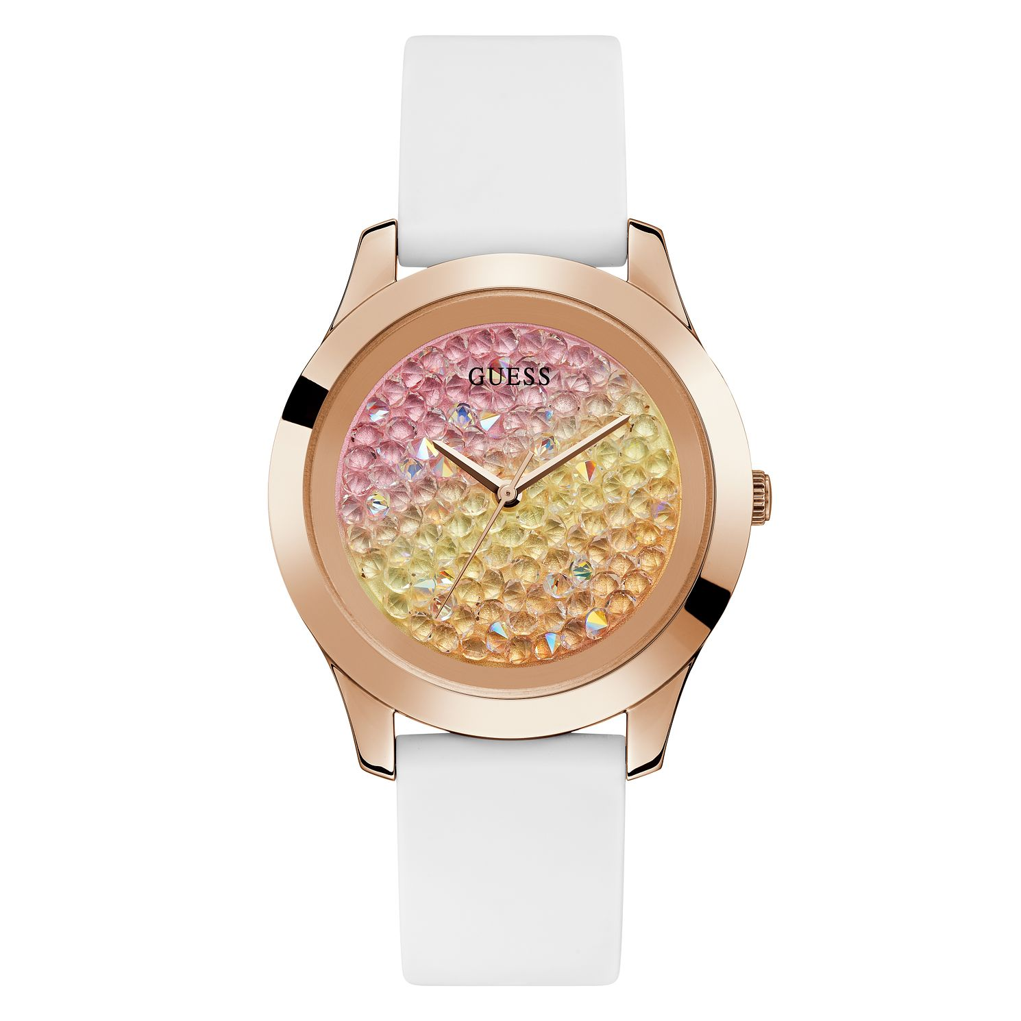Guess Ladies' Crystal Fade Dial White Silicone Strap Watch - Product number 4094190