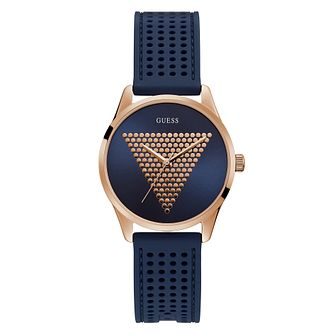 Guess Ladies'  Triangle Logo Dial Blue Silicone Strap Watch - Product number 4094204