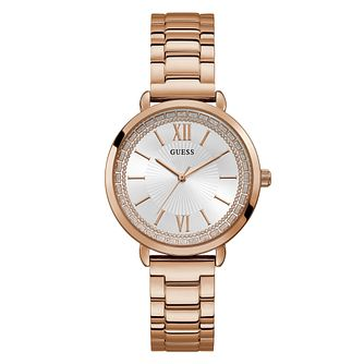 Guess Ladies  Glitter Dial Rose Gold Tone Bracelet Watch - Product number  4094379 bd00b5e8ae58